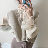 春季女裝韓版chic風復古氣質寬鬆百搭短款大V領無袖針織背心馬甲  【PINKQ】