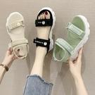 運動中跟網紅爆款涼鞋女仙女風ins潮2021年夏季新款鬆糕厚底涼拖 果果輕時尚