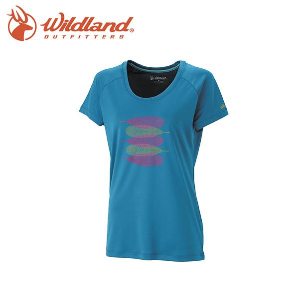 【Wildland 荒野 女印花咖啡紗抗菌抗UV上衣 藍綠】 0A31613-47/排汗衣/休閒上衣/短袖