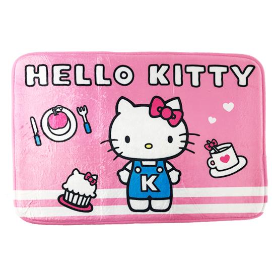 小禮堂 Hello Kitty 方形腳踏墊 吸水踏墊 浴室地墊 止滑海綿 45x65cm (粉 甜點) 4710374-18692