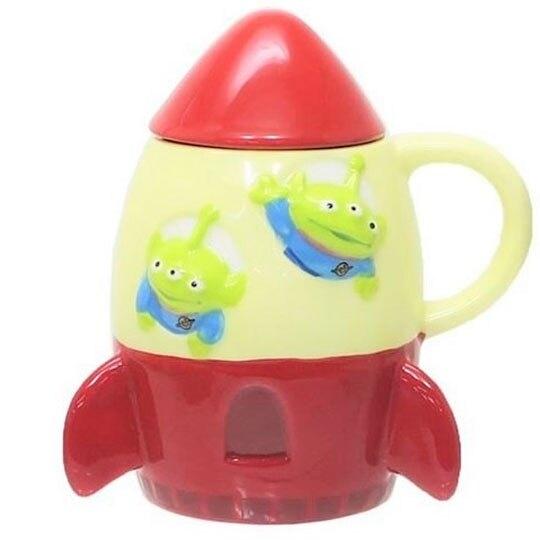 〔小禮堂〕迪士尼 三眼怪 火箭造型陶瓷馬克杯附蓋《米紅》咖啡杯.茶杯 4942423-24379