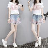 夏季新款蕾絲T恤 A字闊腿毛邊牛仔短褲時尚套裝 QQ1892『MG大尺碼』