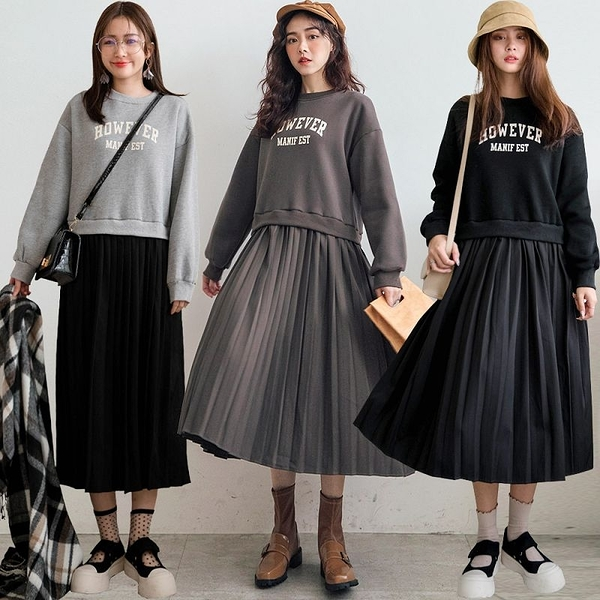 MIUSTAR HOWEVER拼接百褶裙內刷毛棉質洋裝(共3色)【NH3361】預購
