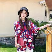 夏季2018新款韓版復古卡通印花寬鬆短袖襯衫