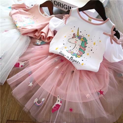 女童短袖夏款套裝 韓版新款卡通篷紗裙套裝