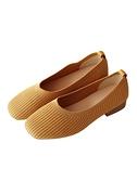 低跟鞋 新款一腳蹬低跟淺口懶人單鞋女方頭豆豆鞋百搭針織奶奶鞋 快速出貨