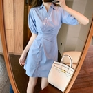 氣質小裙子女夏季2021年新款不規則短袖雪紡洋裝收腰條紋襯衫裙 黛尼時尚精品