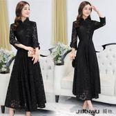 韓版內搭蕾絲旗袍連身裙中長款早春長裙