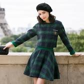 OL套裝(裙裝)毛呢料-英倫風復古浪漫格紋女兩件式套裝2色72j2【巴黎精品】