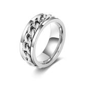 戒指 刻字韓版鈦鋼鏈條戒指男士潮人個性食指環可轉動單身戒子復古尾戒