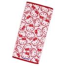 小禮堂 Hello Kitty 抗菌長毛巾 34x70cm (紅滿版款) 4550337-80105