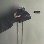 束口包包包女2020新款時尚福袋亮片束口抽繩零錢錬條側背斜背迷你鑰匙包 衣間迷你屋