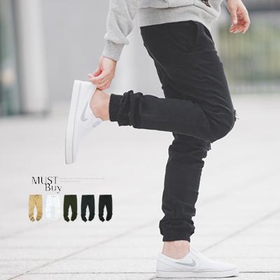 縮口褲 割破素色束口褲休閒褲【N9735J】