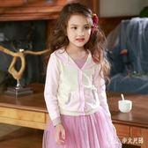女童毛衣 秋針織衫毛衣兒童棉針織開衫線衣女寶寶帶帽子 nm8915【Pink中大尺碼】
