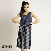 【BTIS】條紋文字雪紡 背心洋裝  / 藍白條