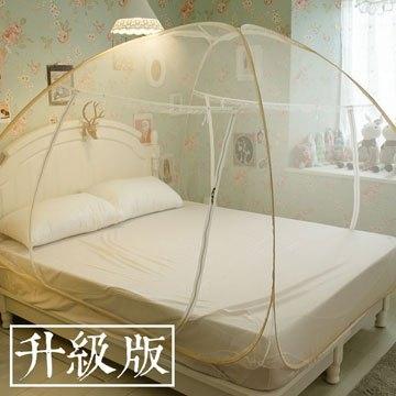 升級版 雙人150cm*186cm 韓式雙門蒙古包蚊帳 彈性鋼材製(邊框顏色隨機出貨,勿指定顏色)棉床本舖