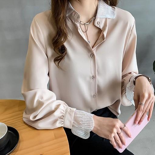 EASON SHOP(GW1825)韓版純色薄款前排釦蕾絲拼接泡泡袖長袖雪紡襯衫女上衣服落肩寬鬆內搭衫修身顯瘦