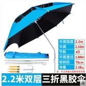 三折疊三節釣魚傘萬向防曬加厚折疊便攜釣傘遮陽短節垂釣傘魚傘【2.2米】