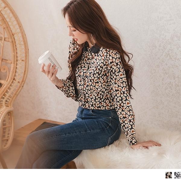 《AB11326》蕾絲領滿版豹紋印花襯衫/上衣--適 XL~6L OrangeBear