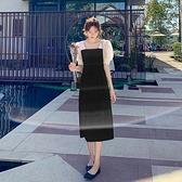 短袖洋裝連身裙~雪紡洋裝~9279黑色方領連身裙女泡泡袖網紗拼接氣質法式復古中長裙H325日韓屋