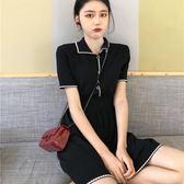 夏裝2018新款韓版復古慵懶風裙子百搭收腰極簡主義短袖 洋裝女潮「輕時光」