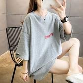 短袖上衣 T恤大碼棉衫M-2XL夏裝新款韓版潮圓領字母印花短袖寬松大碼女裝胖MMT恤女M028快時尚