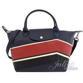 茱麗葉精品【全新現貨】Longchamp Le Pliage Cuir 折疊小羊皮兩用包.深藍#1512