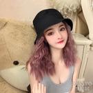 網紅假發女帽子一體可拆卸夏天內扣頭套漁夫帽泡面捲時尚 【快速出貨】