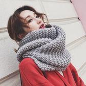圍巾 韓版手工編織粗毛線純色圍脖加厚長款情侶保暖針織