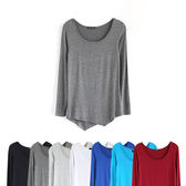 T恤 素色莫代爾不規則低領長袖T恤【MZTX0115】 icoca  10/27