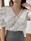 娃娃領上衣 夏季韓版設計感小眾白色襯衫甜美木耳邊泡泡袖襯衣短款法式上衣女