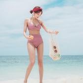 韓國泳衣女高腰遮肚臍顯瘦分體比基尼性感酒紅色小胸鋼托聚攏溫泉 超值價