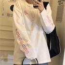 純棉韓版長袖T恤女2021春季學院風新款袖子字母印花寬鬆上衣ins潮