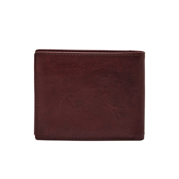 FOSSIL NEEL 黑櫻桃紅色真皮證件格零錢袋皮夾 男ML3890014
