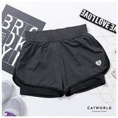 Catworld 愛心刺繡防走光雙層運動短褲【14001214】‧S-2XL