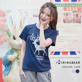T恤--簡單率性圓領美式小鹿印圖百搭短袖棉T(灰.藍XL-5L)-T196眼圈熊中大尺碼