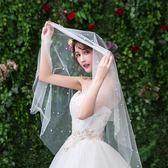 新娘頭紗簡約珍珠網紅拍照攝影頭飾旅拍婚紗超仙森系白色短款女