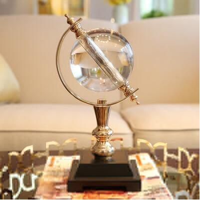 家居樣板間軟裝飾品擺件 客廳書房水晶球地球儀