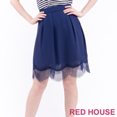 【RED HOUSE 蕾赫斯】飄逸拼接蕾絲裙(深藍色)