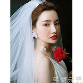 頭紗新款新娘頭紗結婚紗頭紗雙層蓬蓬遮肉頭紗旅拍抖音同款頭紗 至簡元素
