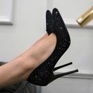 高跟鞋女細跟婚鞋 新款尖頭黑色職業 百搭法式淺口性感單鞋  店慶降價