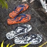 dupe巴西橡膠人字拖男夏圖騰印花夾腳沙灘鞋防滑舒適平底休閒涼鞋