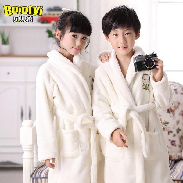 童裝冬季兒童睡袍柔軟男童浴袍加長加厚法蘭絨女童睡衣冬裝家居服 雙11購物節