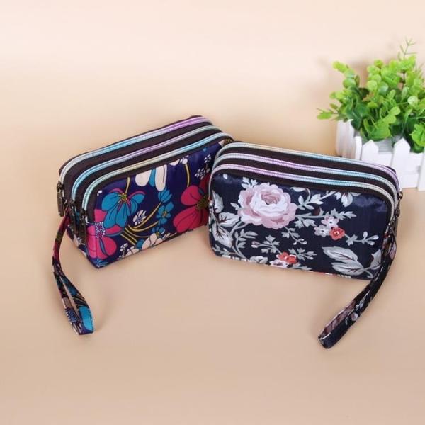買2送1 手拿包簡約三層拉鏈手包零錢包女長款帆布大容量手機包【雲木雜貨】