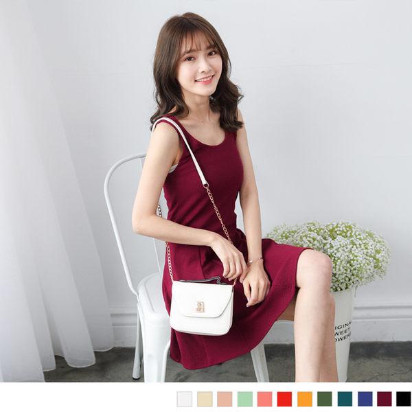 OrangeBear《DA3259》十字花紋波浪裙修身背心洋裝.12色--適 XL~5L