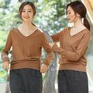 針織衫-素色100全羊毛衫V領毛衣棕駝色/設計家 Z8906