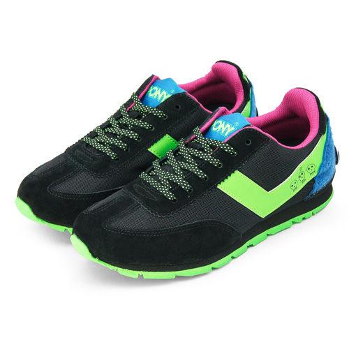 PONY 繽紛韓風復古慢跑鞋--SOHO 黑螢綠 9344SO10BK--女  6折零碼好康