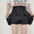 百褶裙短裙高腰黑色a字裙新款白色防走光