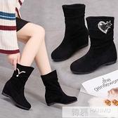 秋冬短靴女鞋磨砂學生百搭平底中筒靴子棉靴內增高加絨坡跟馬丁靴 夏季新品