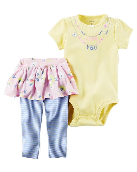 2件式短袖包屁衣+澎裙套裝: 鵝黃: 121H410